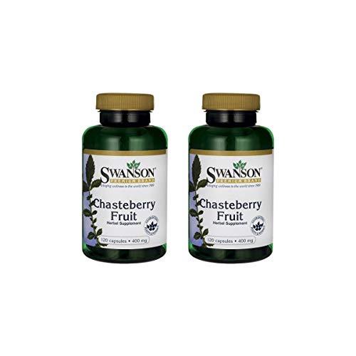 Swanson Chasteberry Fruit Women's Health Menopausal Support Skin Health Herbal Supplement 400 mg 120 Capsules (Caps) (2 Pack)