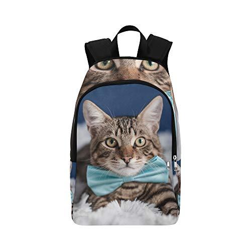 WJJSXKA Designer Bookbag Tie Ribbon Cute Funny Cat Durable Water Resistant Classic Best Packable Daypack College Book Bags for Women Hiking Cooler Bag Large Bookbags
