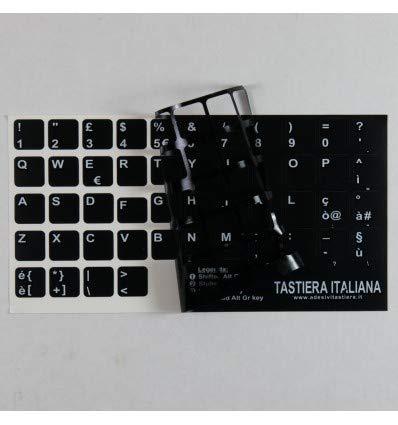 StickersLab - Adesivi lettere tastiera Italiano fondo nero lettere bianche (13,5mm x 13,5mm)