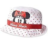 Disney Minnie Mouse Chapeau d'été en coton pour bébé fille avec ruban à paillettes 0-2 ans - Blanc - 0-12 mois