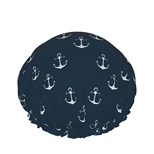 Ship Anchor Design Packaging Nature Gorro de ducha para mujer, 1 pieza Gorro de ducha Impermeable-Doble capa-Reutilizable Gorro de baño elástico para niñas Spa Uso doméstico, hotel y peluquería