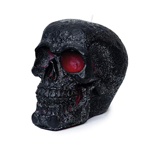 CANDWAX 6x4.3 inch Black Skull Candle Perfect for Skull Decoration and Party Decoration - Themed Candles for Halloween Skull Shaped Candle - Red Inside, Big Size