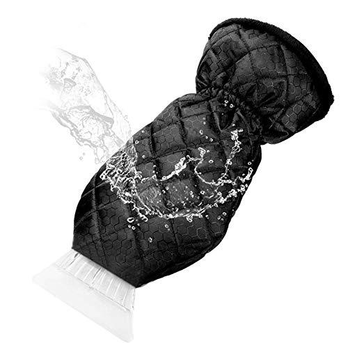 Urben Life 2 stuks ijskrabber met handschoen, auto ijskrabber handschoen met velours gevoerd, winter krabber ijskrabber handschoen voor voorruit raam sneeuwschuif ijskrabber (zwart)