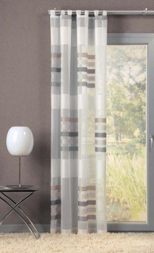 GardTex Attraktiver Schlaufenschal, Schlaufengardine mit auffälligen Blockstreifen Farbe:grau (225 x 140 cm)