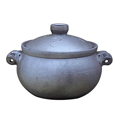 XH&XH Pot d'argile Noire Chinoise Ancienne cocotte à la Main rétro Haute température Pot de ragoût Pot de Pot de Pierre Pot de médecine de la santé pour Le feu à gaz Un 5l
