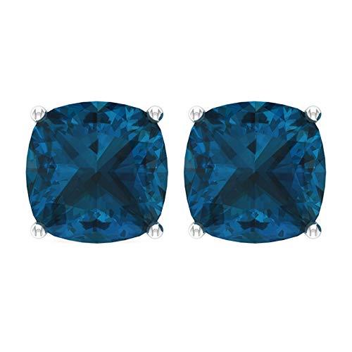 Pendientes de topacio azul de 8,5 quilates, minimalistas de oficina, pendientes de tuerca con piedra solitaria certificada, pendientes de boda para dama de honor, cierre de rosca azul