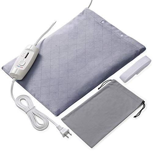 Large Electric Heating Pads for Lower Back Pain and Cramps Fast Relief with Auto Shut Off and 4 Temperature Settings (Light Grey)