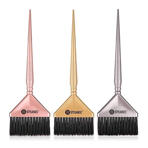 3 x Haarfarbenpinsel, Haarfärbepinsel für Salon & Zuhause, DIY Haarfärbepinsel, drei Farbkombinationen aus Silber, Gold und Rotgold.