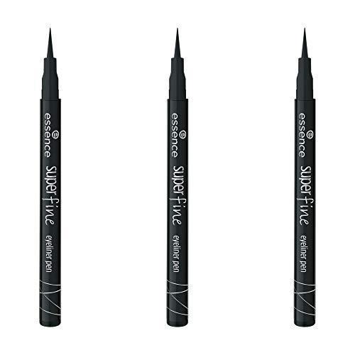 essence eyeliner pen, Eye liner, Nr. 01 black, schwarz, langanhaltend, vegan, ohne Parfüm, 3er Pack (3 x 1ml)