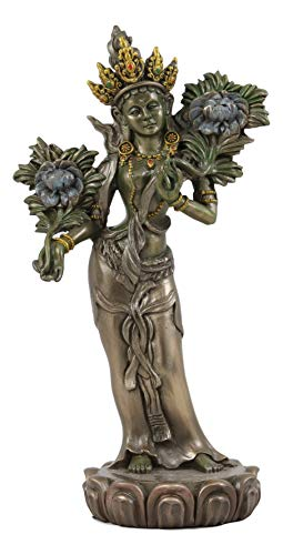 Ebros Tibetan Buddhism Divine Duality Arya Khadiravani Green Tara Goddess of Youth Vitality and Action with Utpala Flowers Statue 8.25