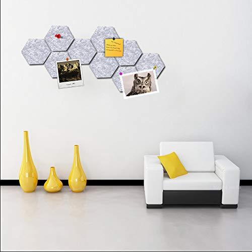 Voelde Zeshoek Board Tegels Set w/Volledige Sticky Back, Kleurrijke Pin Board, Maak uw eigen muur Bulletin Board overal in uw huis om een Handige plek te maken om notities foto's Doelen Foto's Tekenen Sleutel 3_PCS Grijs