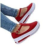 Zapatos Moda de Plataforma Informales con Correa en T para Mujer, 2021 Primavera Retro Mocasines con Cabeza Redonda Cuñas Sandalias Casual Verano Alpargatas con Punta Cerrada…