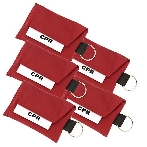 5 Pack CPR Face Mask Key Chain Kit with Gloves | One Way Valve Face Shield Mask First Aid Kit by AsaTechmed || for Travel, Home, Office, Boat, Car, EMS, Firefighters, Nurses, First Responders (Red)