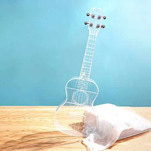 DishyKooker Ukelele transparente de 23 pulgadas, impermeable, pequeño ukelele hawaiano, instrumento musical al aire libre, transparente