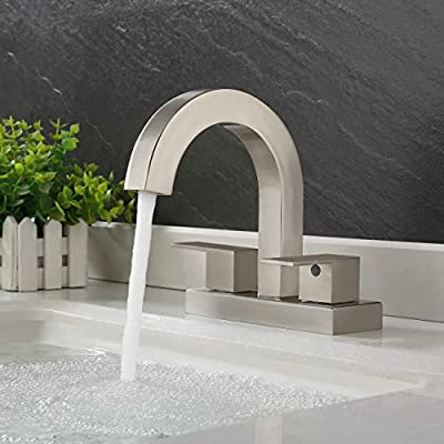 KES Bathroom Faucet Brushed Nickel Vessel Sink Faucet for Bathroom Sink 2 Handles 3 Holes Modern Centerset Vanity Faucet 4-Inches Brass Construction (Supply Hoses Included), L4118LF-BN