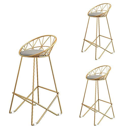 VERDELZ Gold High Stool Wrought Iron Bar Stool, Hollow Backrest, Stylish Pedal Design, Suitable For Cafe Home Decoration