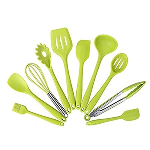 Green Kitchen Utensils Set Silicone Tools Heat Resistant Nonstick Cookware Spatula Shovel Non-Stick Baking Cooking Best Gadgets Restaurant Housewarming Office Hotel Outdoor Picnic Camping