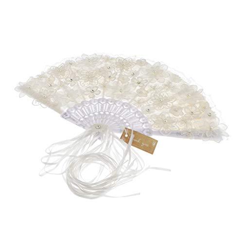 Abanico de Mano Plegable de Plumas con Flores Perlas de Imitación Ventilador de Bolsillo para Novia Dama de Honor