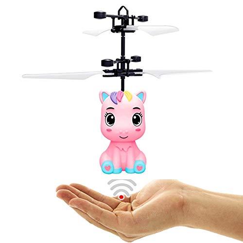 Unicornio Pegaso para bebé con luces LED (rosa) fácil de controlar para niños y adultos mediante movimiento de la mano.