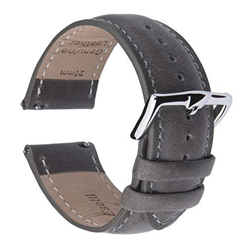 時計バンド クイックリリース 本革時計バンド - 男性用および女性用の滑らかで柔らかいカーフスキンの裏地のエレガント時計バンド - サイズ 16mm 18mm 19mm 20mm 21mm 22mm