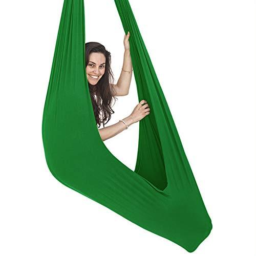 WCX Columpio Swing Terapia Interior Hamaca Columpio para niños Adolescentes sensoriales elástica Abrazar Hamacas Swing de Carga Hamaca Ajustable para Autismo TDAHD (Color : Green, Size : 100 * 280cm)