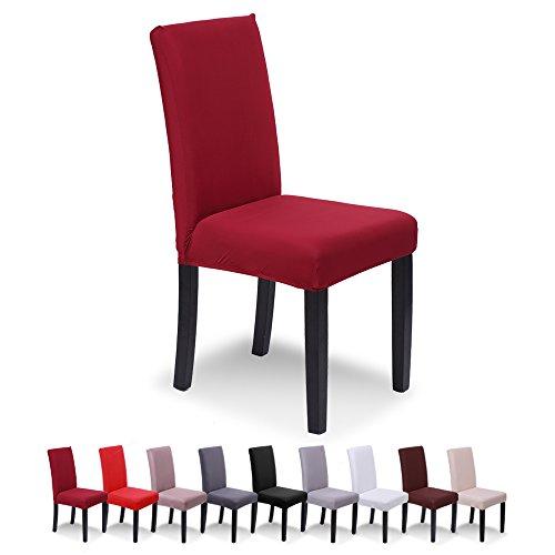 SaintderG Fundas para sillas Pack de 6 Fundas sillas Comedor, Lavable Extraíble Funda, Muy fácil de Limpiar, Duradera Modern Bouquet de la Boda, Hotel, Decor Restaurante (Burdeos, Pack de 6)