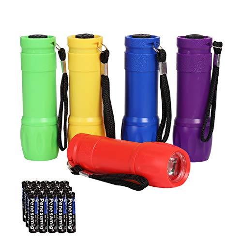 KunHe Small Mini LED Flashlights Pack of 5 Plastic Flashlights for Kids 100 Lumen With Battery