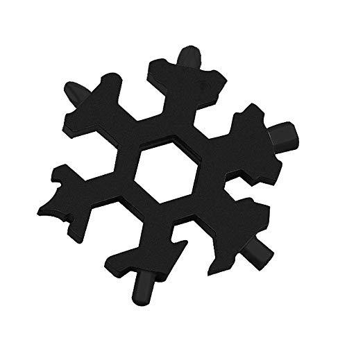 outingStarcase 18 en 1 Copo de Nieve Llavero Llave Hexagonal Llave Multifunción Exterior del Alza Llavero de Bolsillo multipropósito Campo de Sobrevivir Herramientas manuales (Color : 6 Angle Black)