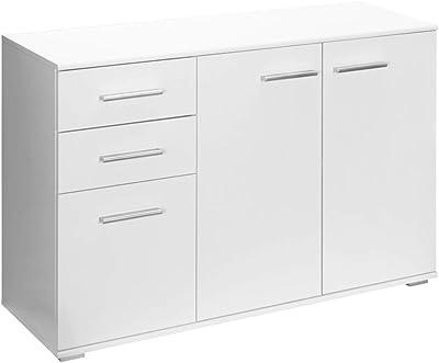Buffet Commode Blanc avec 3 Portes 2 tiroirs Meuble de Rangement 107 x 75 x 35 cm