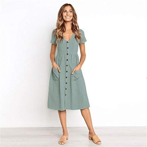 Generic Brands Nouveau élégant Bouton de Poche col en V à Manches Courtes Robe d'été Femmes Robe de Mode Taille Haute Robe L Gris Vert