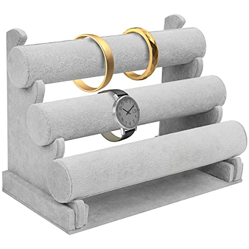 Kurtzy Expositor Pulseras de Terciopelo Gris (3 Niveles) 30 x 17 x 23 cm - Organizador de Joyas Desmontable - Expositor Collares, Relojes, Pulseras, Tobillera, Coletero, Diademas