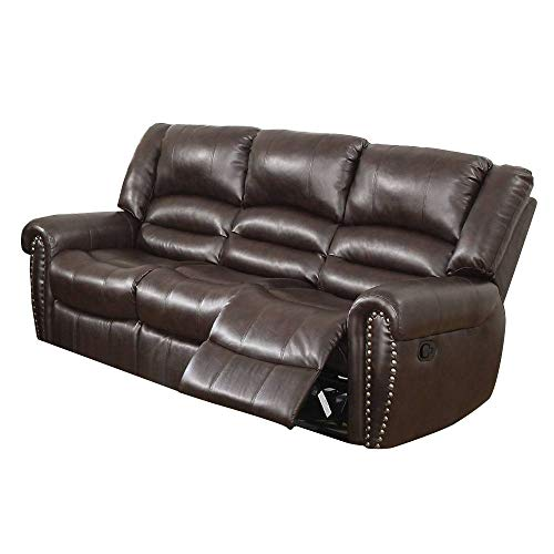 simple relax Zola Bonded Leather and Pine Frame with Metal Reclining Mechanism 3 Seat Motion Sofa, Brown