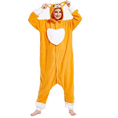 FZH Pijama Ardilla marrón Kigurumi Adultos Onesies Mujeres Hombres Dibujos Animados Pijamas Combinados Juego de Roles Animal Halloween Cosplay Disfraz-Perro_Metro