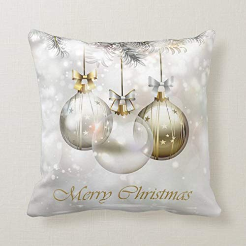 Yilooom 18 X 18 Inch Square Throw Pillow Cases Cushion Covers For Bed Sofa Couch Car Home Decor, Silver and Golden Christmas Balls & Bows Throw Pillow Cover