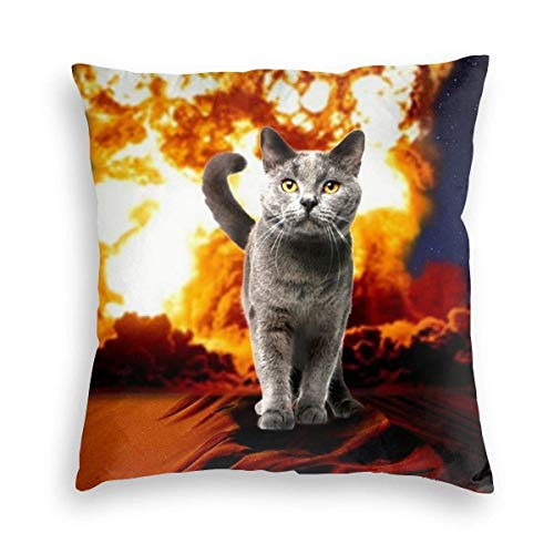 Badwang fluwelen kussensloop Fire Cat Explosion Action Movie Crazy Space Kitty kussenslopen kussenslopen decoratieve vierkante kussensloop voor kinderen volwassenen 45 x 45 cm
