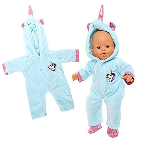Miunana Blau Kleidung Outfits für Baby Puppen, Puppenkleidung 35-40 cm (Einhorn)