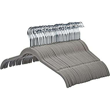 AmazonBasics Velvet Shirt/Dress Hangers - 50-Pack, Grey