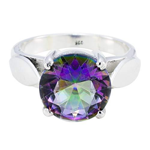 joyas plata buenas piedras preciosas forma redonda una piedra anillos de cuarzo místico facetados - anillo de cuarzo místico multicolor de plata maciza - nacimiento de agosto leo