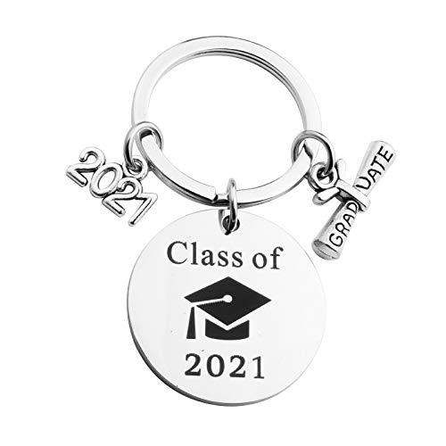 Graduation Keychains Congrats Supplies Class of 2021 Keyring Congrats Grad Key Ring College Gift Party Favor for Classmates Students (G-3PCS)