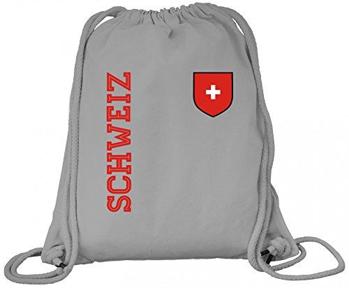 Swiss Fußball WM Fanshirt Gruppen Premium Bio Baumwoll Turnbeutel Rucksack Stanley Stella Fan Trikot Schweiz, Größe: onesize,Heather Grey