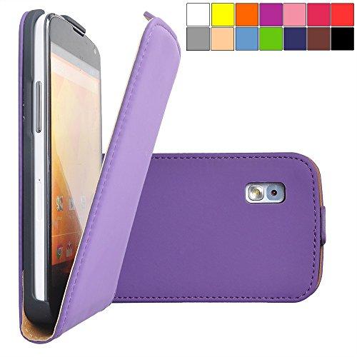 COOVY® Cover für LG LG Google Nexus 4 E960 Slim Flip Case Tasche Etui inklusive gratis Bildschirmschutzfolie   Farbe lila