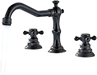 Lovedima Modern 3 Hole Antique Black Widespread Sink Faucet Deck Mounted Bathroom Tap (Deck Mounted)