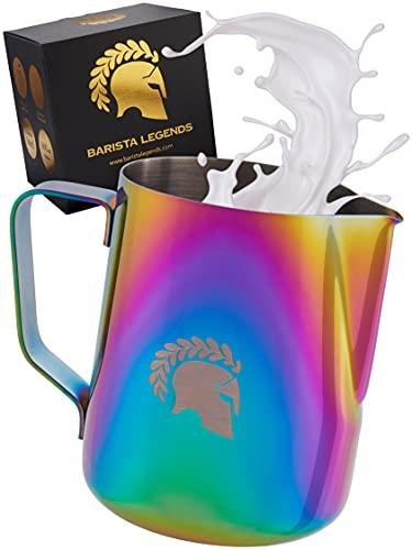 Barista Legends® Milchkännchen Edelstahl 600ml - mit speziellem Latte Art Ausguss - Milchkanne für Hobby Barista in beeindruckenden Farben