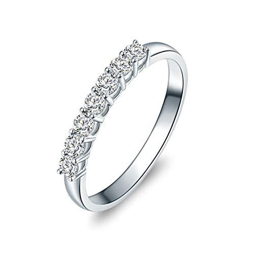 Daesar Anillos Oro Blanco 18K,Anillos de Mujer de Plata Redondo Diamante Blanco 0.28ct Anillo Talla 9,5