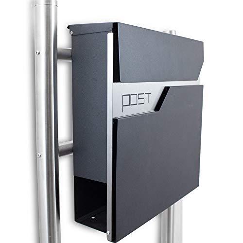 BITUXX® Freistehender Design Standbriefkasten Briefkastenanlage Hausbriefkasten Postkasten Edelstahl mit Zeitungsfach Einwurf und Front Anthrazit Graphit