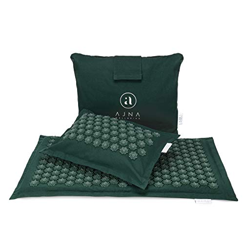 Ajna Acupressure Mat and Pillow Set  Ideal for Back Pain Relief and Neck Pain Relief  Advanced Stress Reliever  Muscle Relaxant  Free Tote Bag  Eco Lite Forest