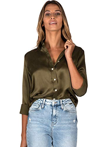 CAMIXA Women 100% Silk Blouse Long...