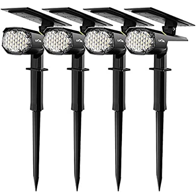 LITOM 30 LEDs Outdoor Solar Landscape Spotlights PRO IP67 Waterproof Wireless Solar Powered Landscaping Wall Light for Yard Garden Driveway Porch Walkway Pool Patio Cold & Warm White Adjustable 4 Pack