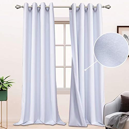 BONZER 100% Blackout Curtains for Bedroom - Premium Thick Velvet Curtains 84 Inches Long Thermal Insulated Energy Saving, Sun Light Blocking Grommet Window Drapes for Living Room, 2 Panels, White