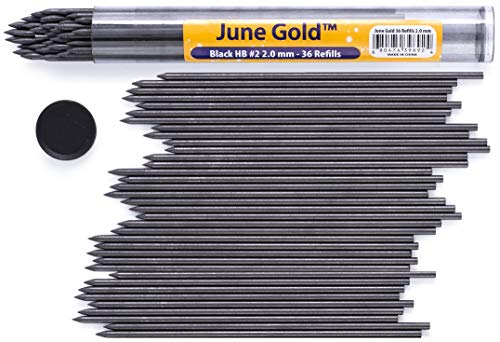 June Gold 36 Pieces, 2.0 mm HB #2 Lead Refills, Extra Bold Thickness, Break Resistant Lead/Graphite